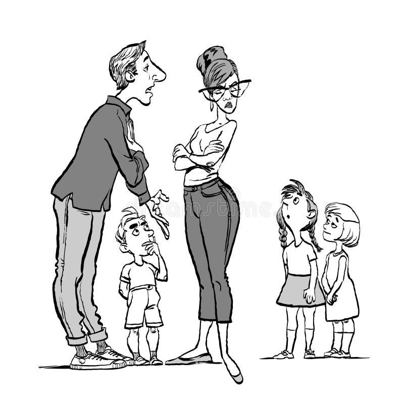 Föräldrar grälar, och barnet lyssnar argumentera gravid kvinna för conflictfamiljman Föräldrar och tre barn royaltyfri illustrationer