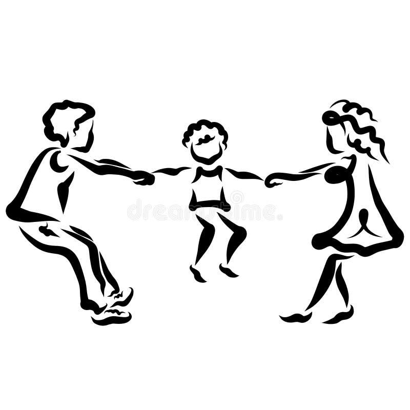 Föräldrar grälar och tar bort ett barn eller barns lek vektor illustrationer