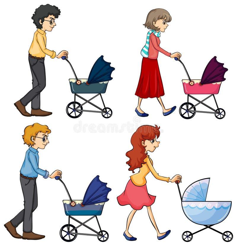Föräldrar med langare stock illustrationer