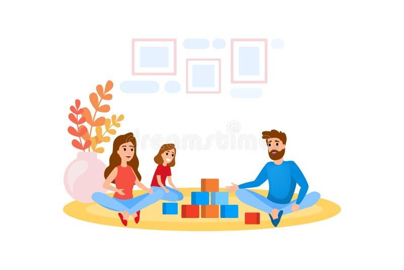Föräldrar och barnlek tillsammans Moder fader stock illustrationer