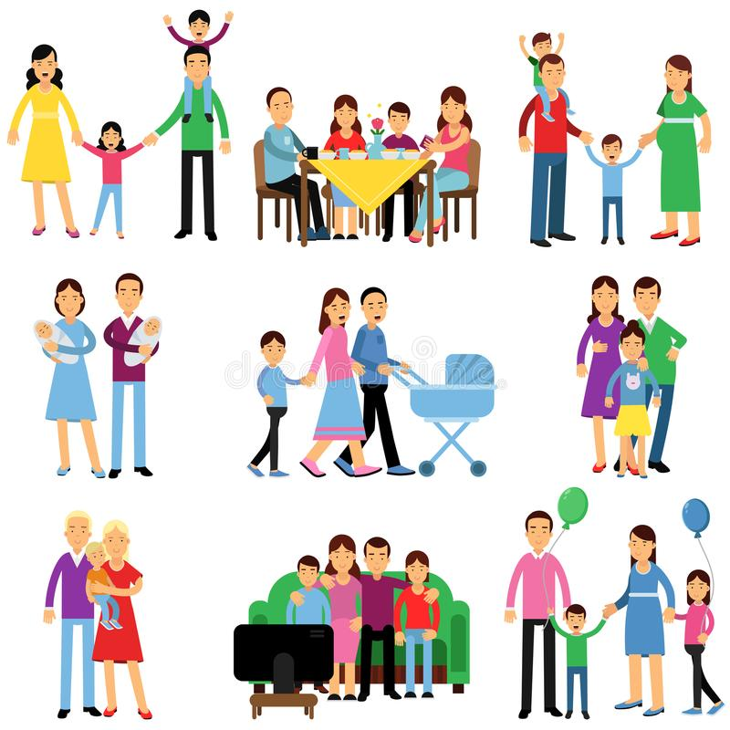 Föräldrar och deras ungar i olika lägen ställde in, lyckliga illustrationer för vektorn för familjbegreppet vektor illustrationer