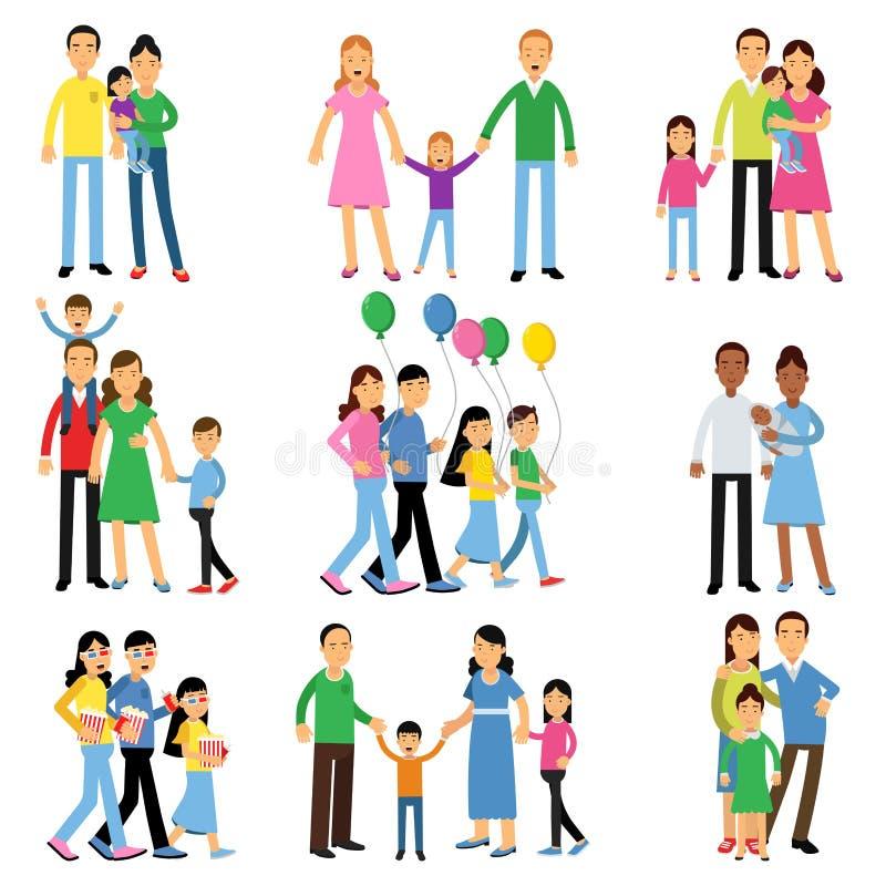Föräldrar och deras ungar ställde in, lyckliga illustrationer för vektorn för familjbegreppet royaltyfri illustrationer