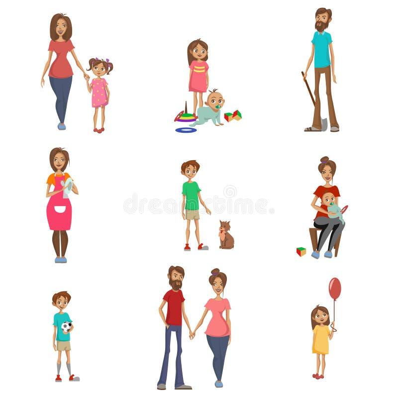 Föräldrar och deras ungar ställde in, mamman, farsan och barn i olika lägen, lycklig vektor för tecknad film för familjbegrepp royaltyfri illustrationer