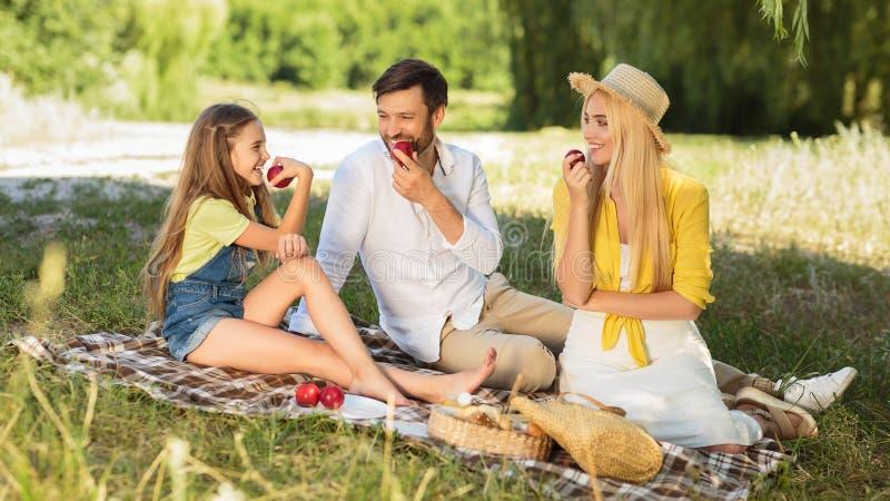 Föräldrar och dotter som tycker om picknicken i bygd arkivfoto