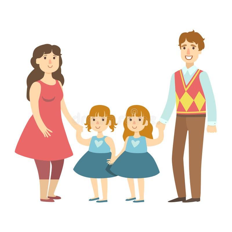 Föräldrar och två tvilling- lilla döttrar, illustration från lycklig älska familjserie royaltyfri illustrationer