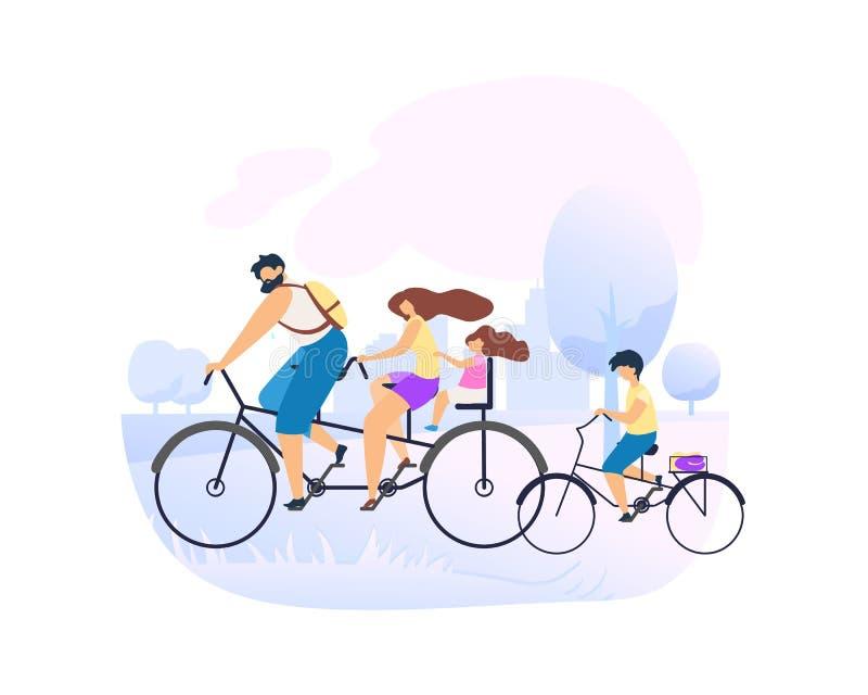 Föräldrar rider den tandema cykeln med den lilla dottern stock illustrationer
