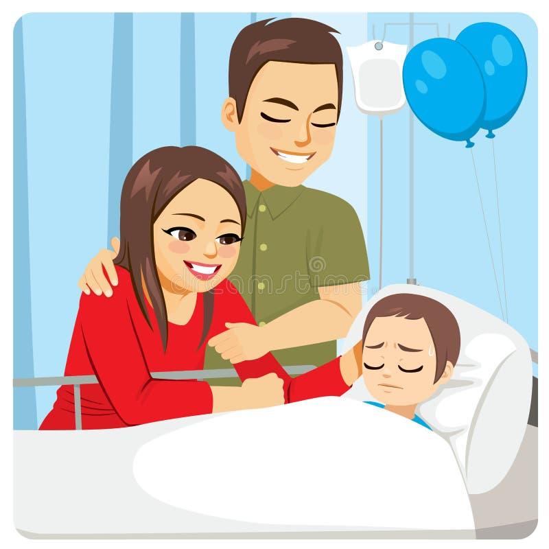 Föräldrar som dåligt besöker sonsjukhuset stock illustrationer
