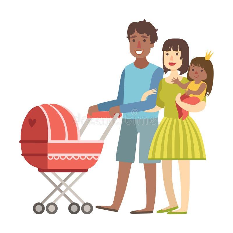 Föräldrar som går med, behandla som ett barn i en sittvagn och och lilla barnet i armar, illustration från lycklig älska familjse vektor illustrationer
