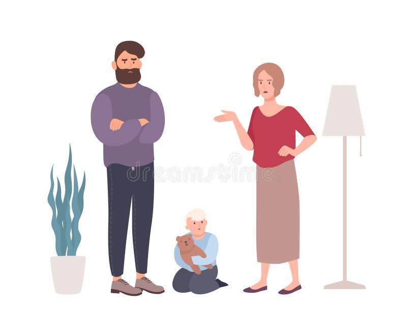 Föräldrar som grälar eller slåss i närvaro av den lilla sonen Gift par som ropar på de Problem eller konflikt in royaltyfri illustrationer