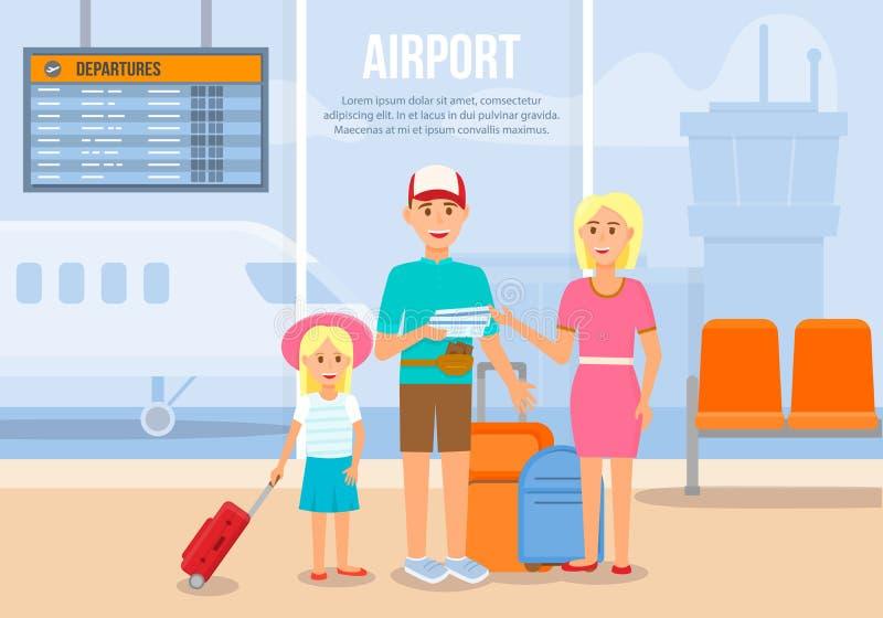 Föräldrar som reser med den lilla dottern med flygplanet royaltyfri illustrationer