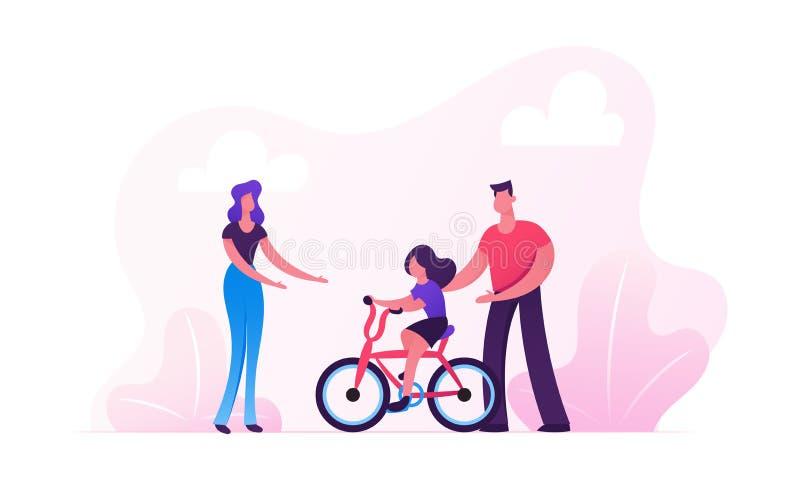 Föräldrar som undervisar barnridningcykeln i stad, parkerar Lycklig familj som utomhus har aktivitet som tillsammans spenderar Ti vektor illustrationer