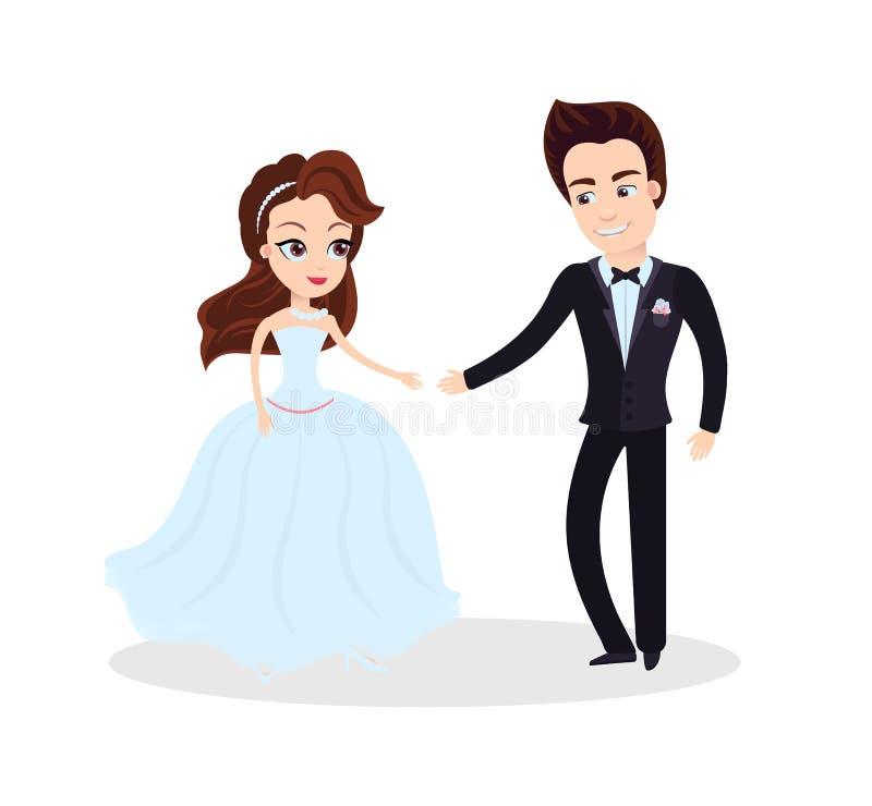 Förälskad dans för par på ceremoni som festar stock illustrationer