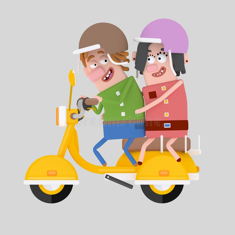 Förälskad körande motorcykel för par 3d royaltyfri illustrationer