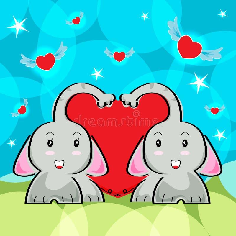 Förälskad och röd hjärtavektorbakgrund för elefanttecknad film för valentindag stock illustrationer