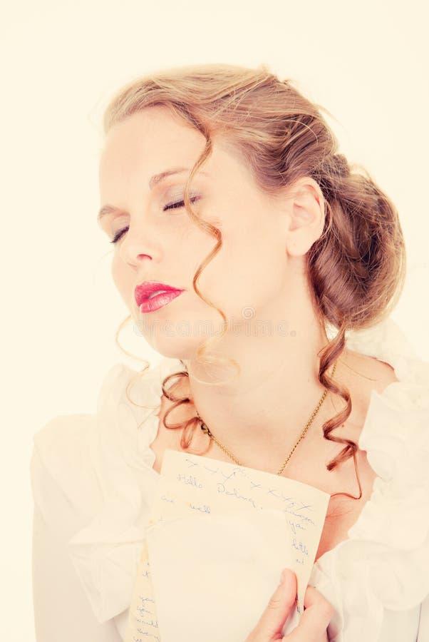 Förälskad romansk kvinna royaltyfri foto