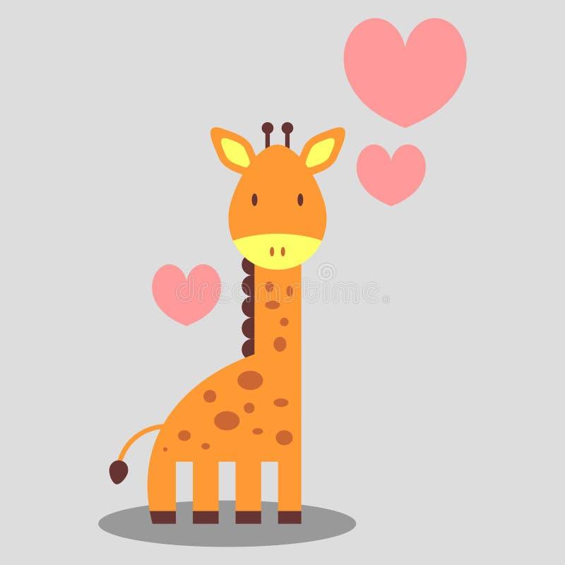 Förälskad gullig giraff royaltyfri illustrationer