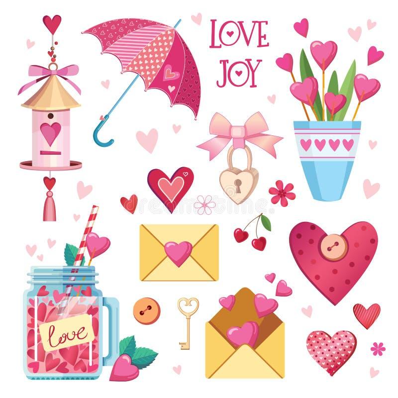 Förälskad samling för gullig nedgång Trevlig romantiker isolerade beståndsdelar Blommor, par, gåvor, garneringar och romantisk at stock illustrationer