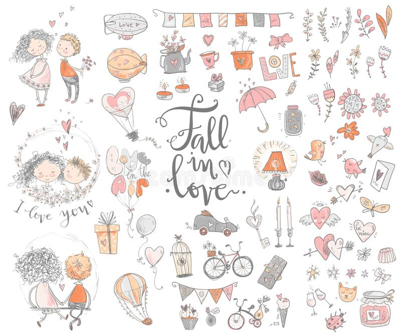 Förälskad samling för gullig nedgång Trevlig romantiker isolerade beståndsdelar f vektor illustrationer