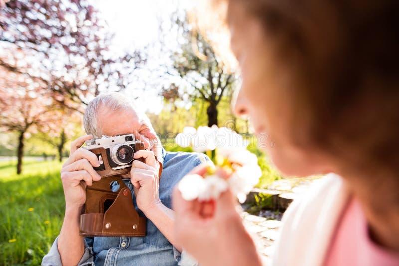 Förälskad yttersida för härliga höga par i vårnatur arkivfoton