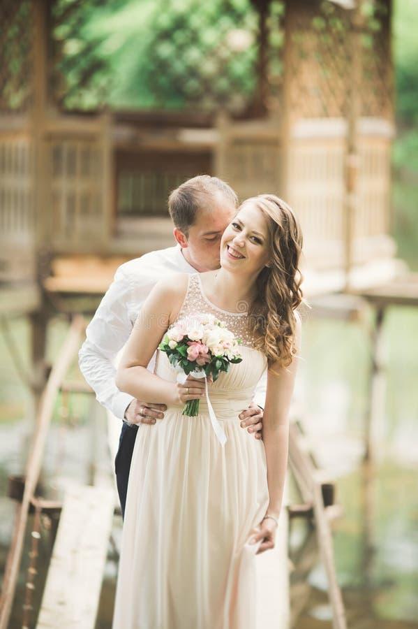 Download Förälskade älskvärda Par Kyssa Sig På Dagbröllopet Som Utomhus Står I Parkera Nära Sjön Arkivfoto - Bild av lyckligt, posera: 78726744