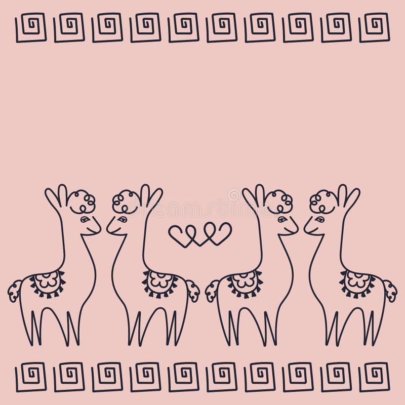 Förälskade alpacas för par, hjärtor, grekisk prydnad Passande för valentin dag, födelsedag, parti stock illustrationer