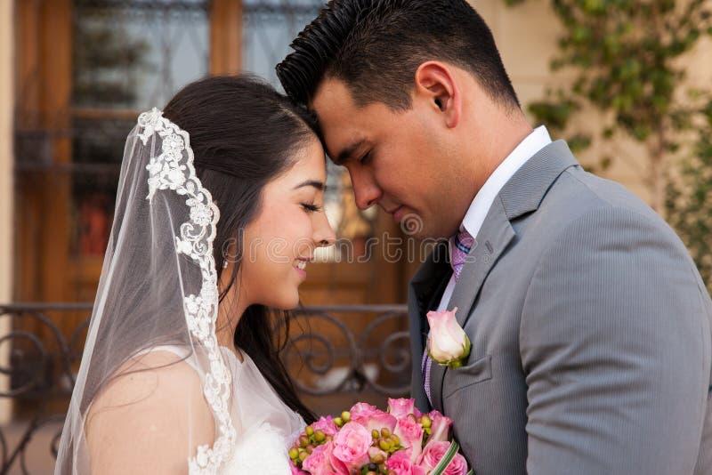 Förälskade brud och brudgum royaltyfri bild
