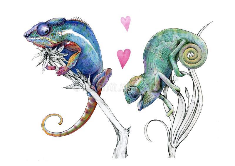Förälskade konstnärliga kameleonter för vattenfärg royaltyfri illustrationer