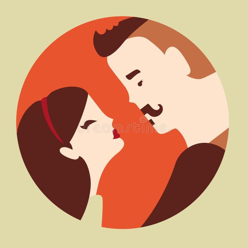 Förälskade man och kvinna royaltyfri illustrationer