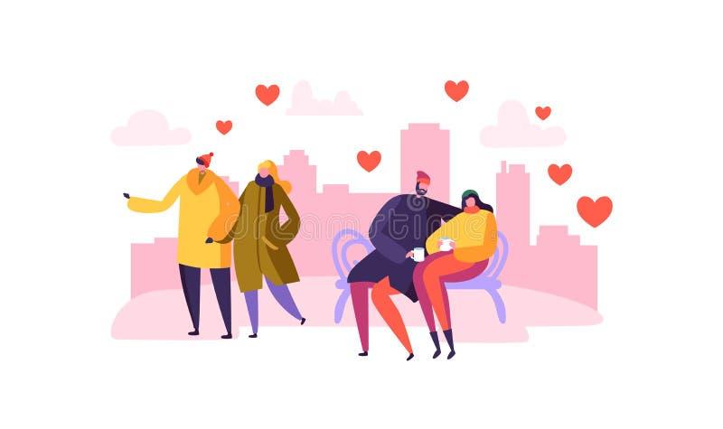 Förälskade manliga och kvinnliga tecken Romantisk dag för lyckliga par i staden Valentin Card med förälskat folk stock illustrationer