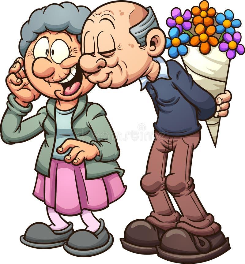 Förälskade morföräldrar stock illustrationer