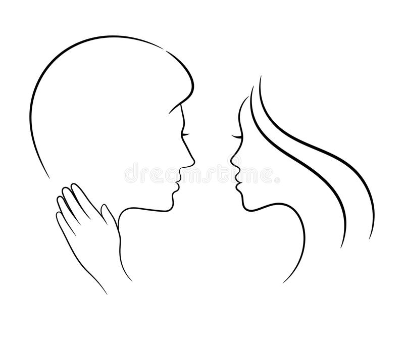 Förälskade par, konturteckning vektor illustrationer