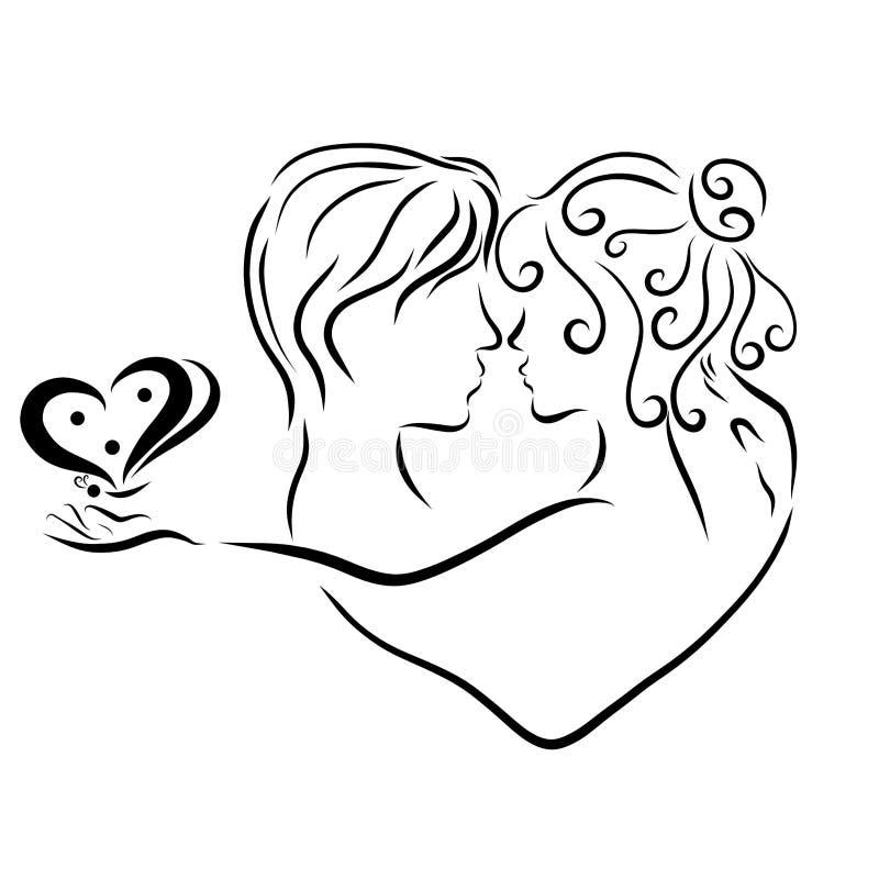 Förälskade par, mjukhet och kyss royaltyfri illustrationer