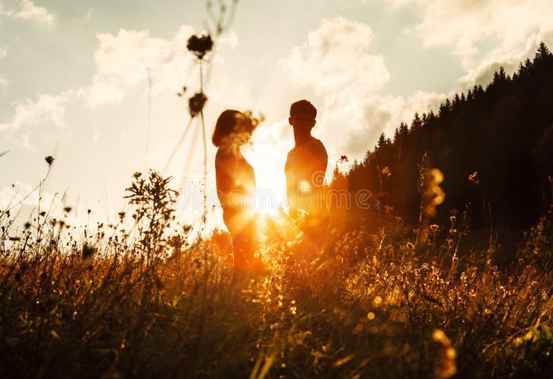 Förälskade parsilhouets bland högt gräs på solnedgångäng royaltyfria bilder