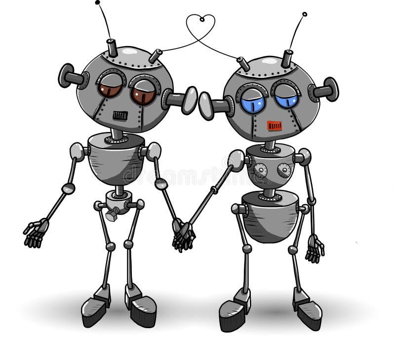 Förälskade robotar royaltyfri illustrationer
