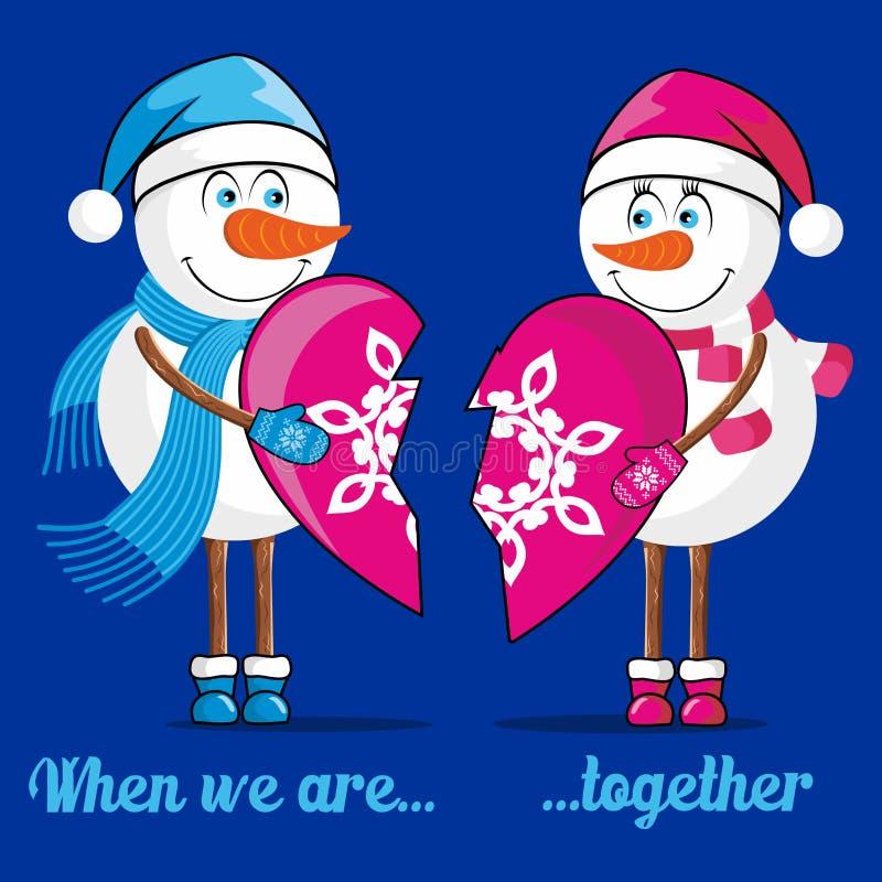 Förälskade snögubbear förbinder deras hjärtor royaltyfri illustrationer