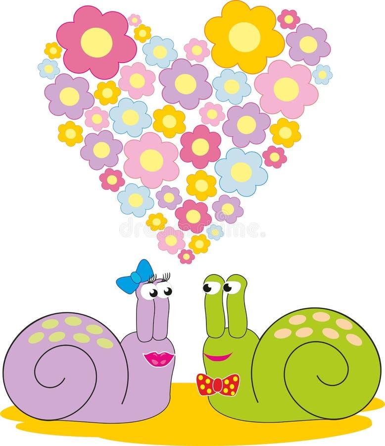 förälskade snails två royaltyfria bilder