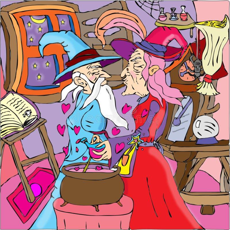 Förälskade trollkarlar stock illustrationer