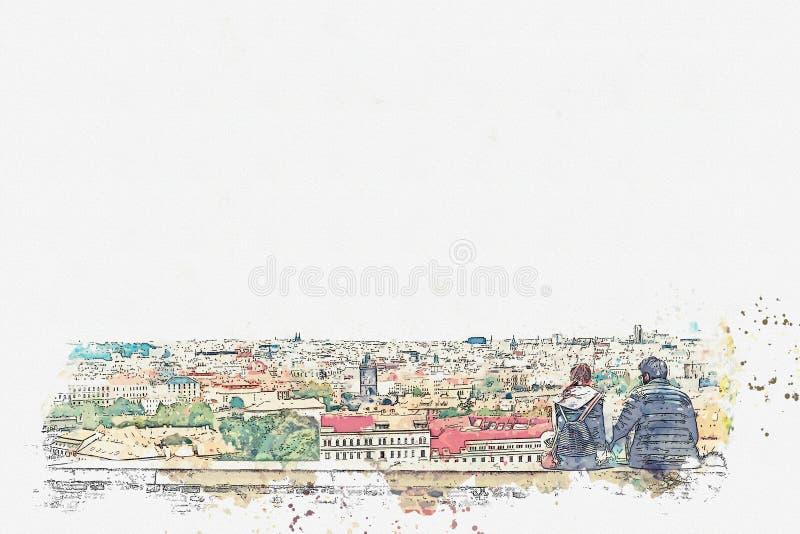 Förälskade unga par eller vänner är sitta och beundra den härliga arkitekturen i Prague royaltyfri illustrationer