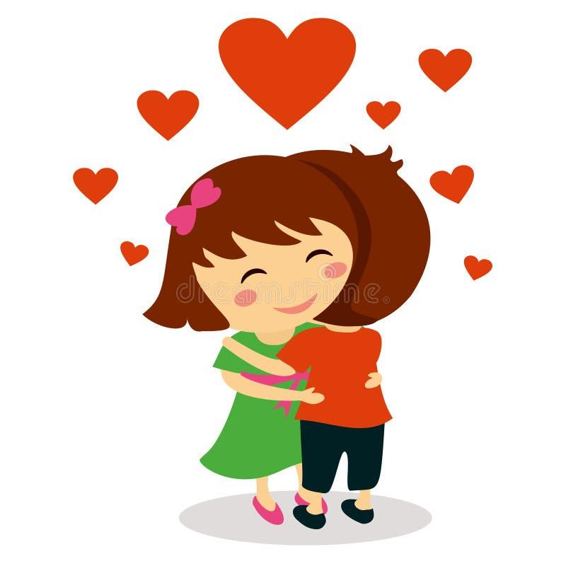 Förälskat krama för barn stock illustrationer
