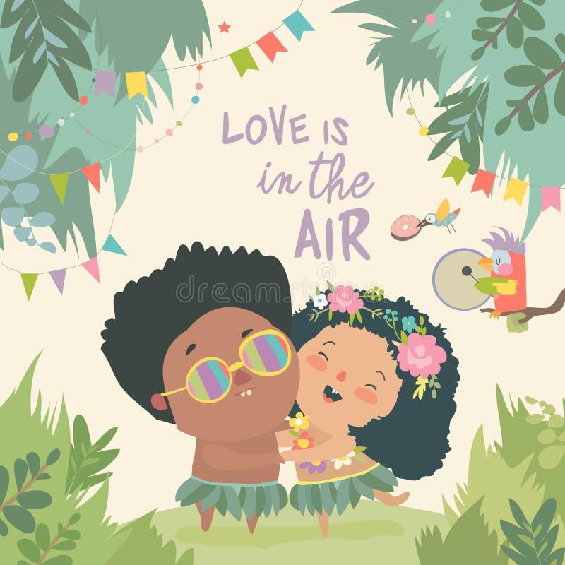 Förälskat krama för gulliga tecknad filmpar lycklig bröllopsresa stock illustrationer