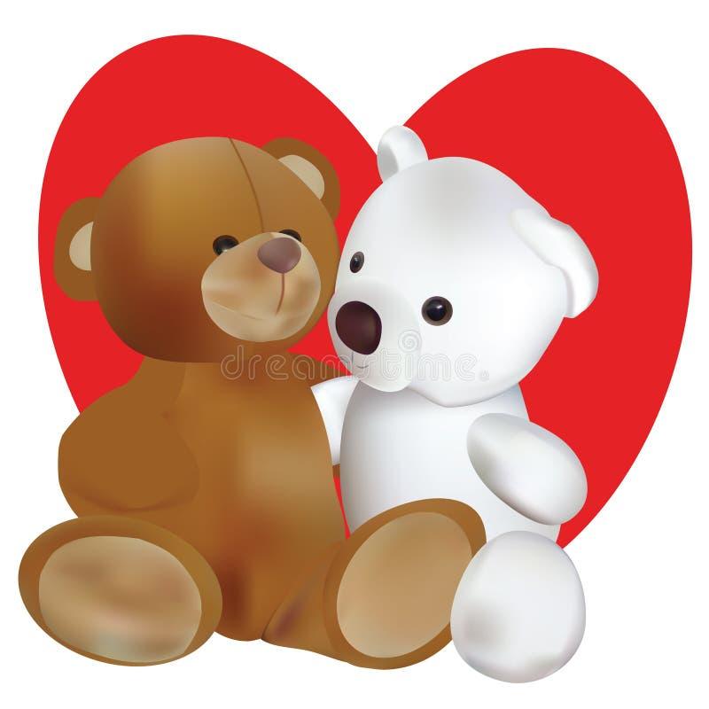 Förälskat med nallebjörnar stock illustrationer