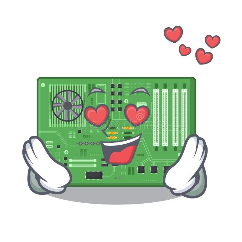 Förälskat moderkort i a-datortecknade filmen vektor illustrationer