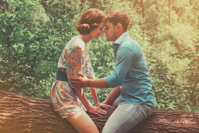 Förälskat sammanträde för par på träd i sommar arkivfoto