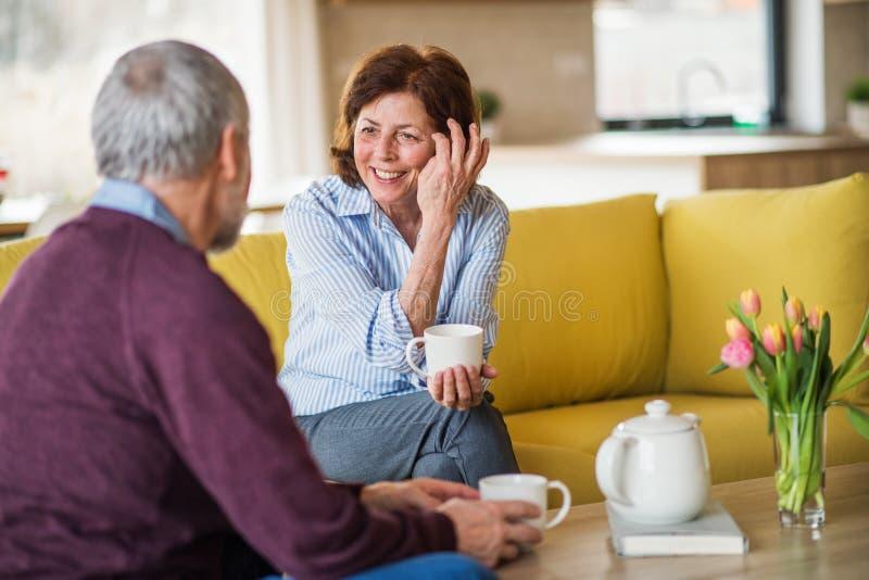 Förälskat sammanträde för tillgivna höga par på soffan inomhus hemma och att tala royaltyfri foto