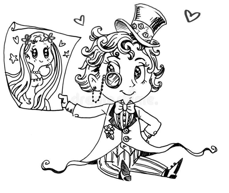 Förälskat tecknad filmtecken stock illustrationer