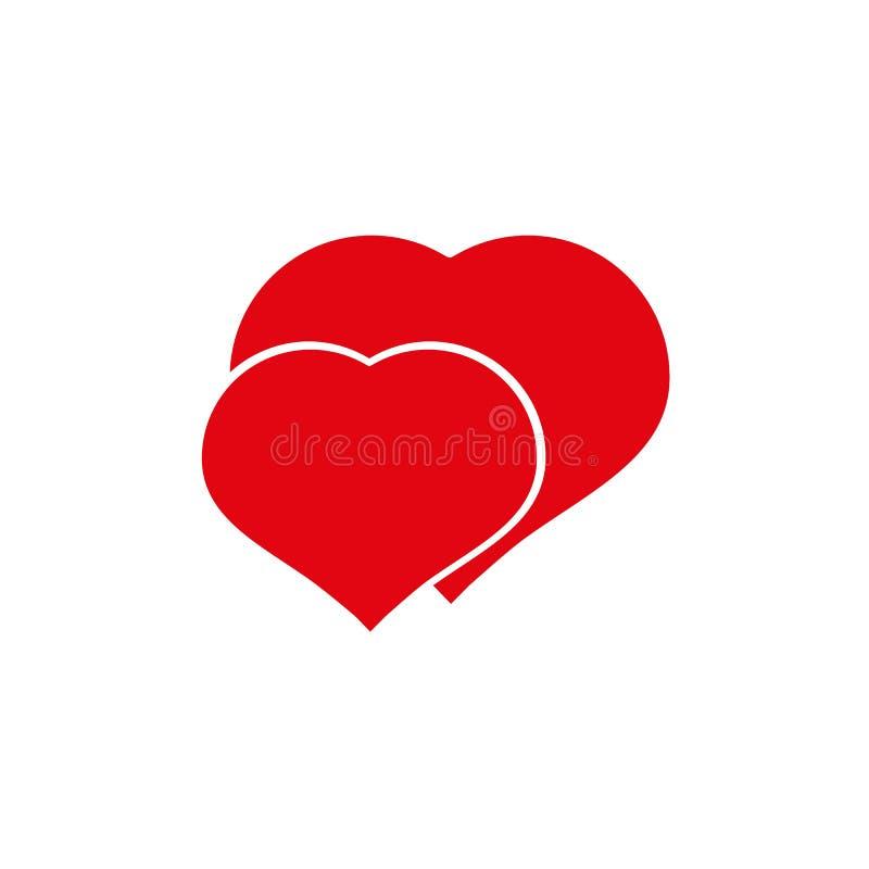 Förälskelse är… den rosa markören på vit bakgrund två hjärtor med förälskelsesymboler stock illustrationer