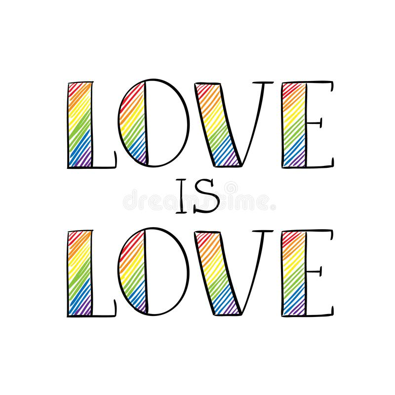Förälskelse är bokstäver för hand för förälskelseregnbåge kulör i knapphändig stil Homosexualitet LGBT-rättemblem som isoleras på vektor illustrationer
