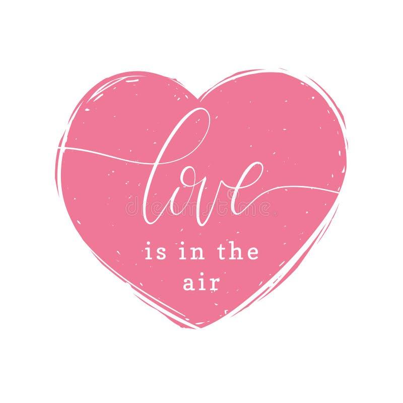 Förälskelse är i det handskrivna uttrycket för luft i hjärtaform Valentindagbokstäver 8 vektorillustration för marsch stock illustrationer