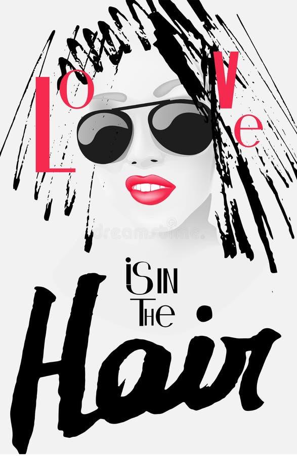 Förälskelse är i håraffischen med bokstäver och kvinna med klotterhår vektor illustrationer