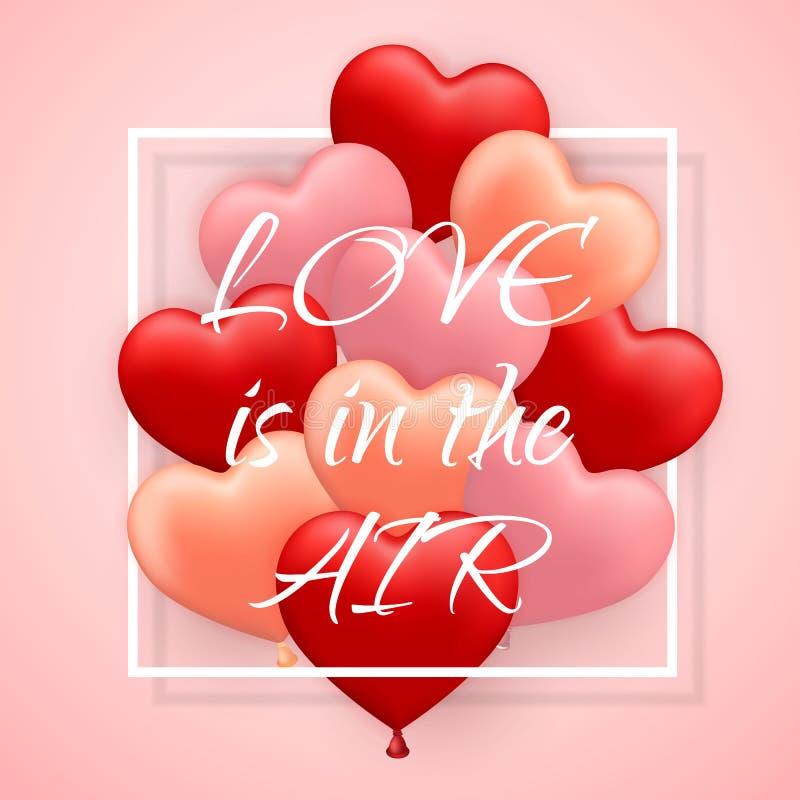 Förälskelse är i honom luftar, den lyckliga ballongen för dagen för valentin röd, rosa och orange, i form av hjärta med bandet oc royaltyfri illustrationer